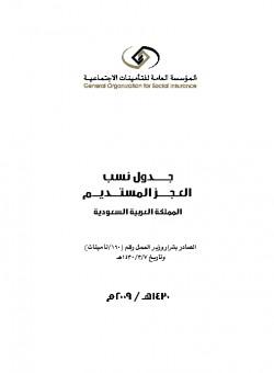 جدول نسب العجز المستديم المكتبة الرقمية للدكتور فيصل بن مشعل بن سعود بن عبدالعزيز